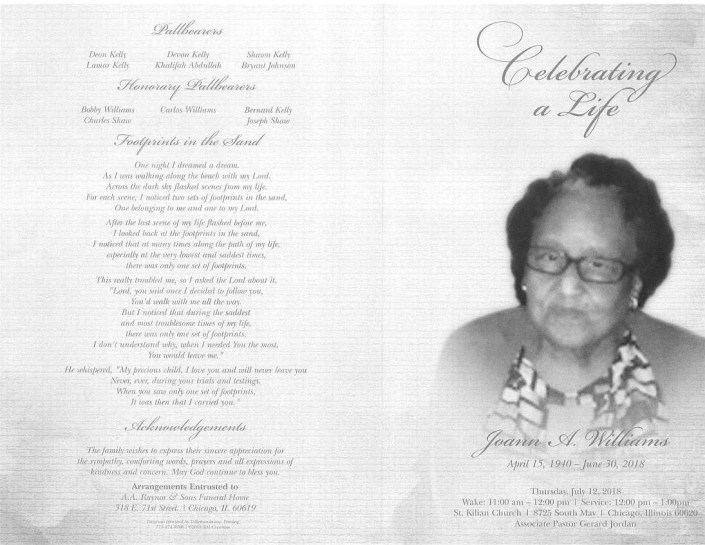 Joann A Williams Obituary