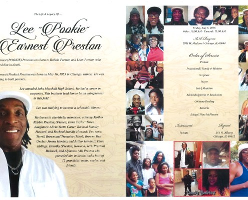 Lee Pookie Earnest Preston Obituary AA Rayner And Sons Chicago Funeral Home