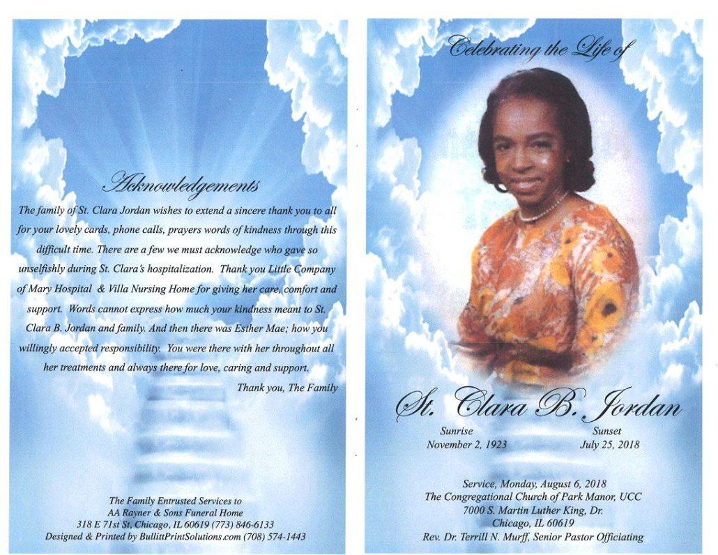 St Clara B Jordan Obituary