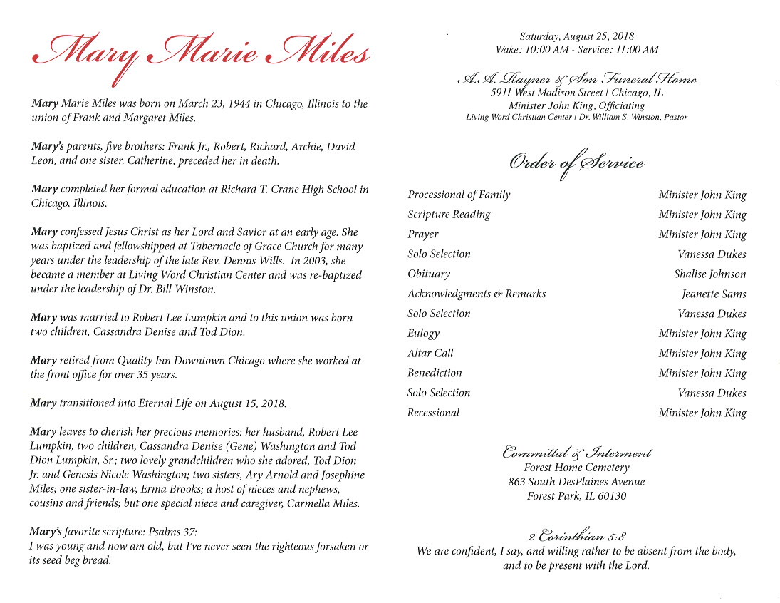 Mary Marie Miles Lumpkin Obituary – AA Rayner and Sons Funeral Home