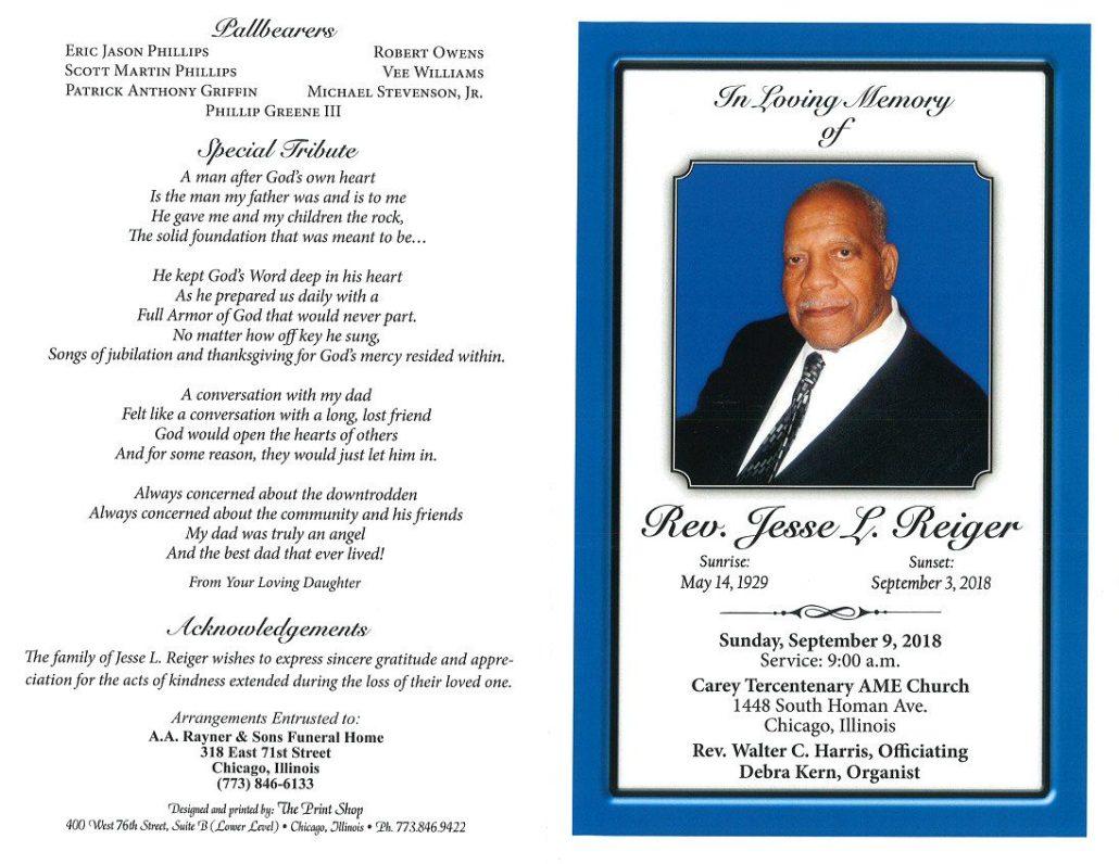 Rev Jesse L Reiger Obituary