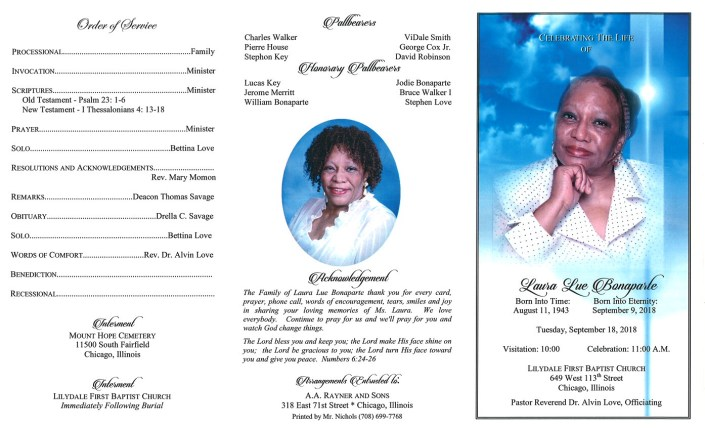 Laura Lue Bonaparte Obituary