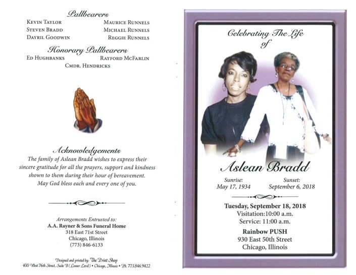 Aslean Bradd Obituary