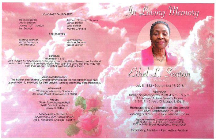 Ethel L Seaton Obituary