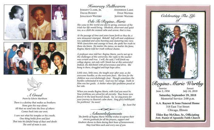 Regina Marie Worthy Obituary