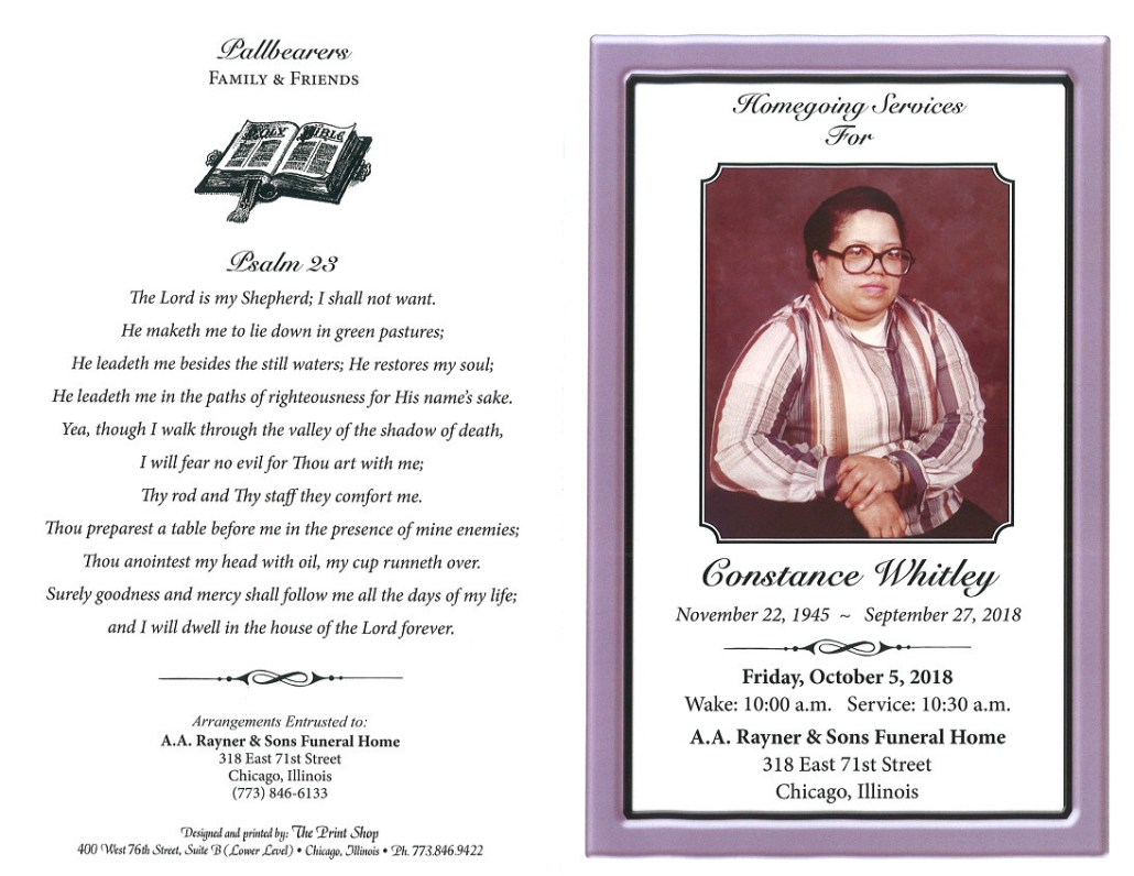 Constance Whitley Obituary