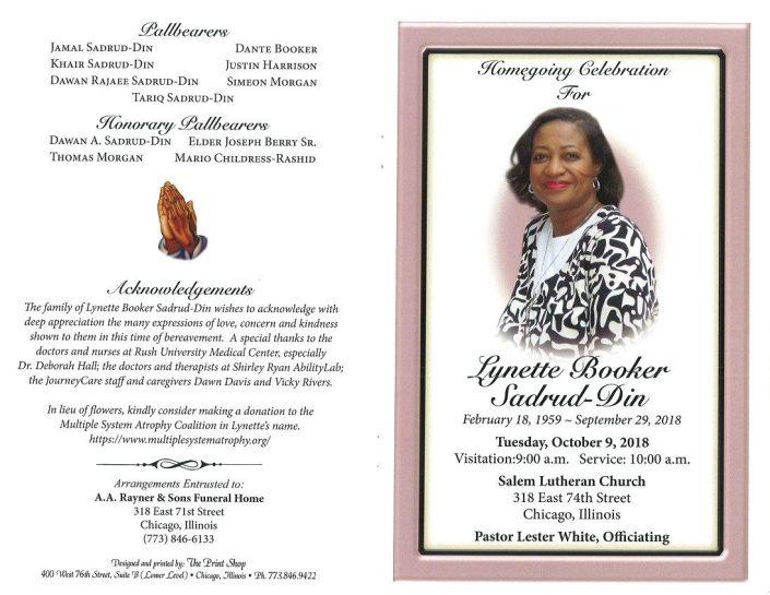 Lynette Booker Sadrud Din Obituary