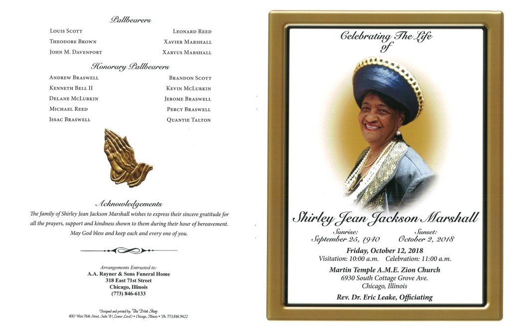 Shirley Jean Jackson Marshall Obituary