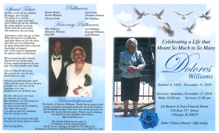 Dolores Williams Obituary