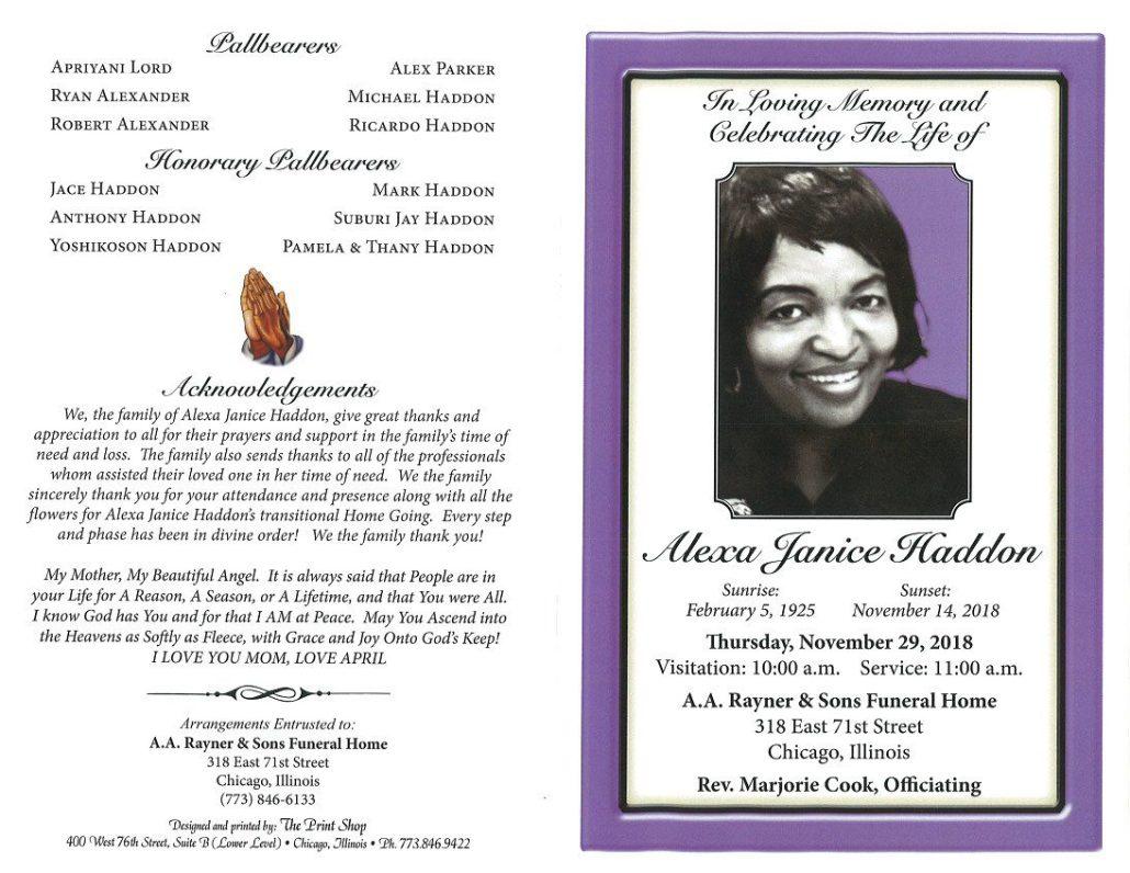 Alexa Janice Haddon Obituary