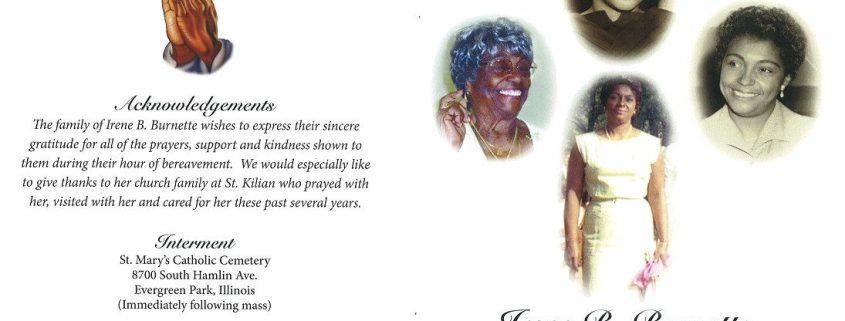 Irene B Burnette Obituary