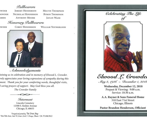 Elwood L Crowder Obituary