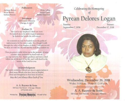 Pyrean Delores Logan Obituary