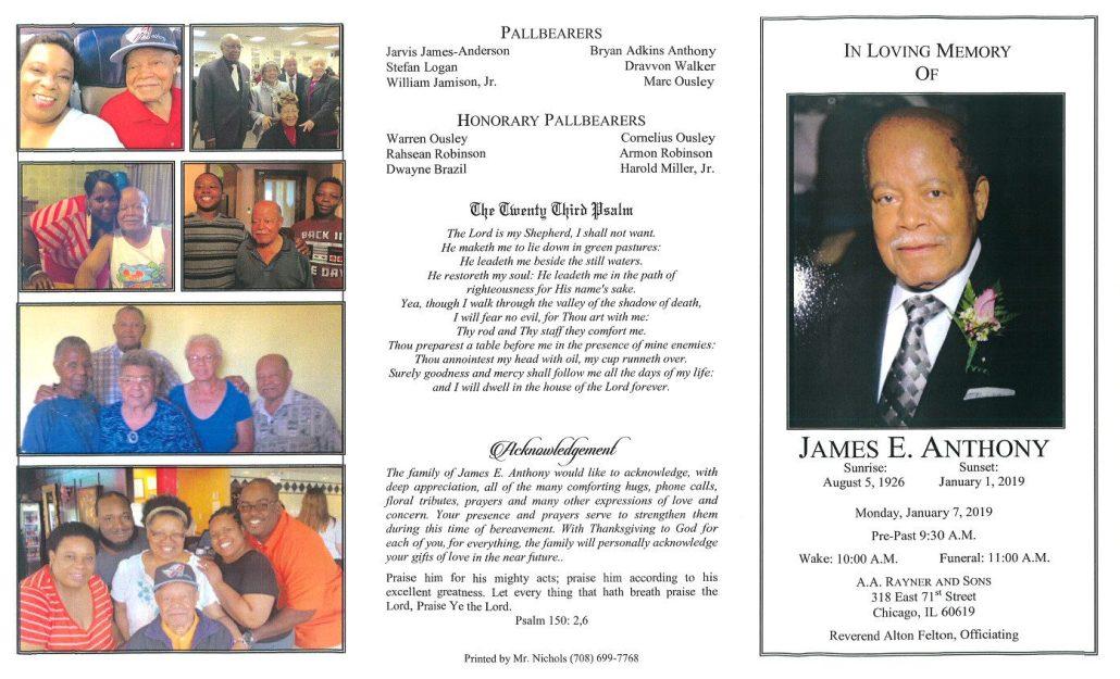 James E Anthony Obituary