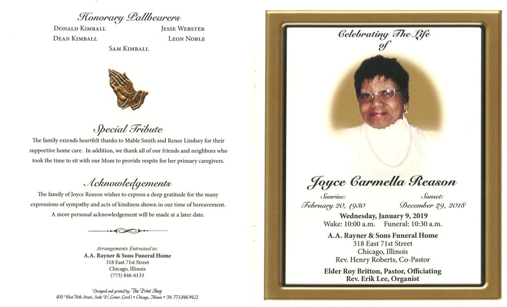 Joyce Carmella Reason Obituary