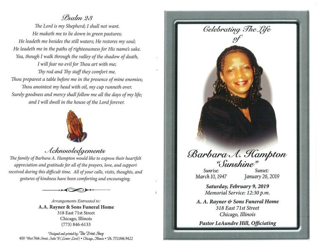 Barbara A Hampton Obituary