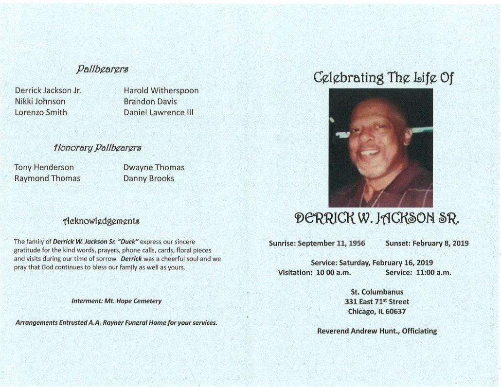 Derrick W Jackson Sr Obituary