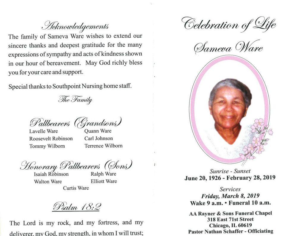 Sameva Ware Obituary