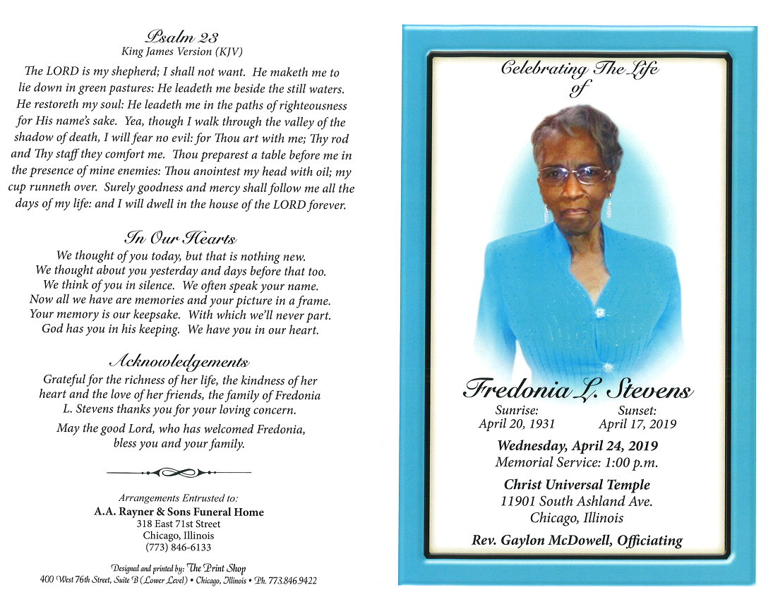 Fredonia L Stevens Obituary | AA Rayner and Sons Funeral Home