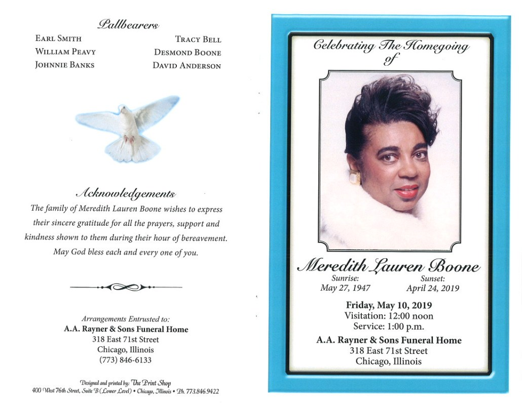 Meredith Lauren Boone Obituary