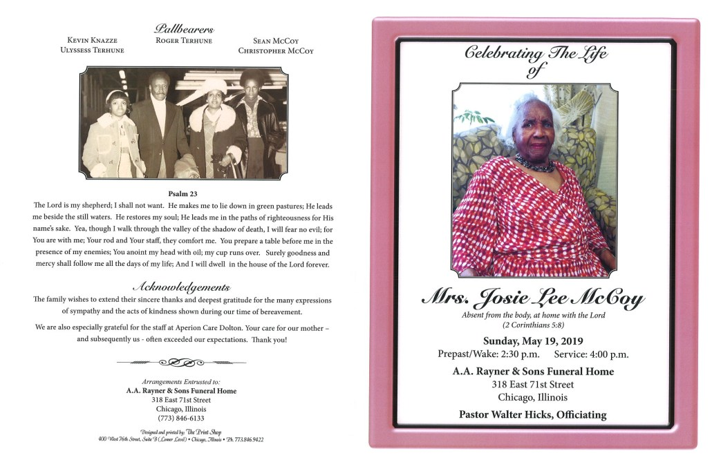 Mrs Josie Lee Mccoy Obituary