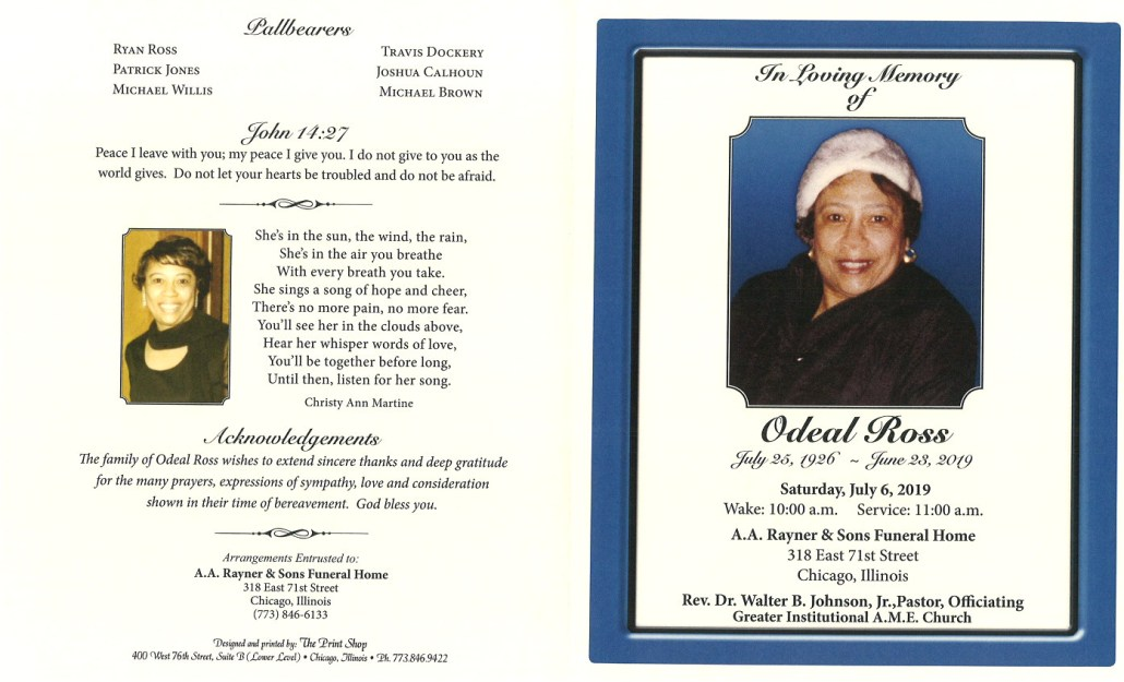 Odeal Ross Obituary