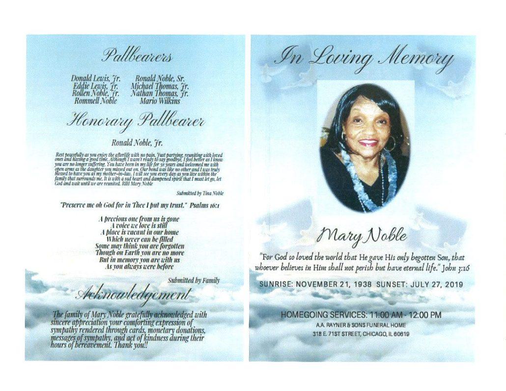 Mary Noble Obituary