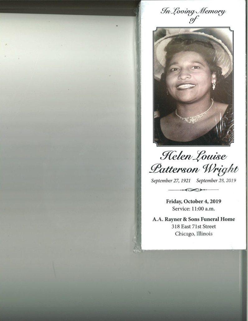 Helen L Patterson Wright Obituary