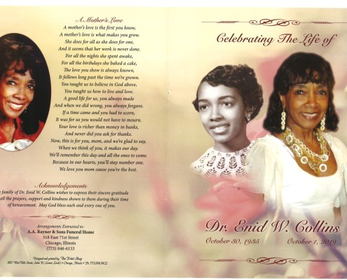 Dr Enid W Collins Obituary