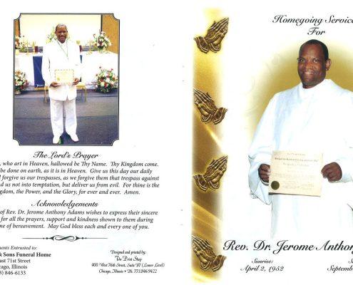 Rev Dr Jerome Adams Obituary