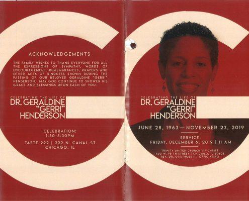 Dr Geraldine Henderson Obituary