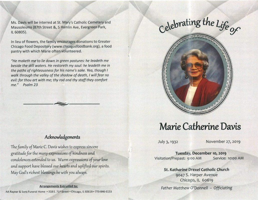 Marie C Davis Obituary