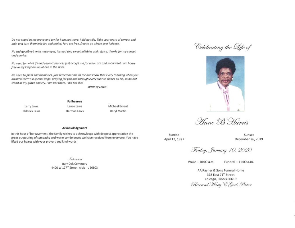 Anne B Harris Obituary