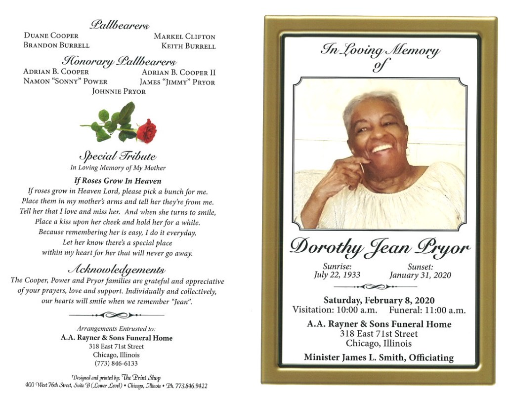 Dorothy J Pryor Obituary