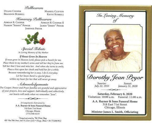 Dorothy J Pryor Obituary