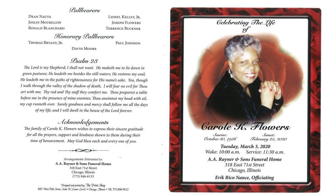 Carole K Flowers Obituary