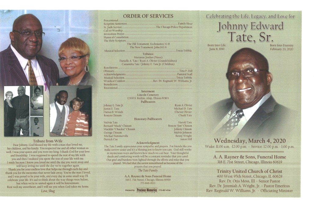 Johnny E Tate Sr Obituary