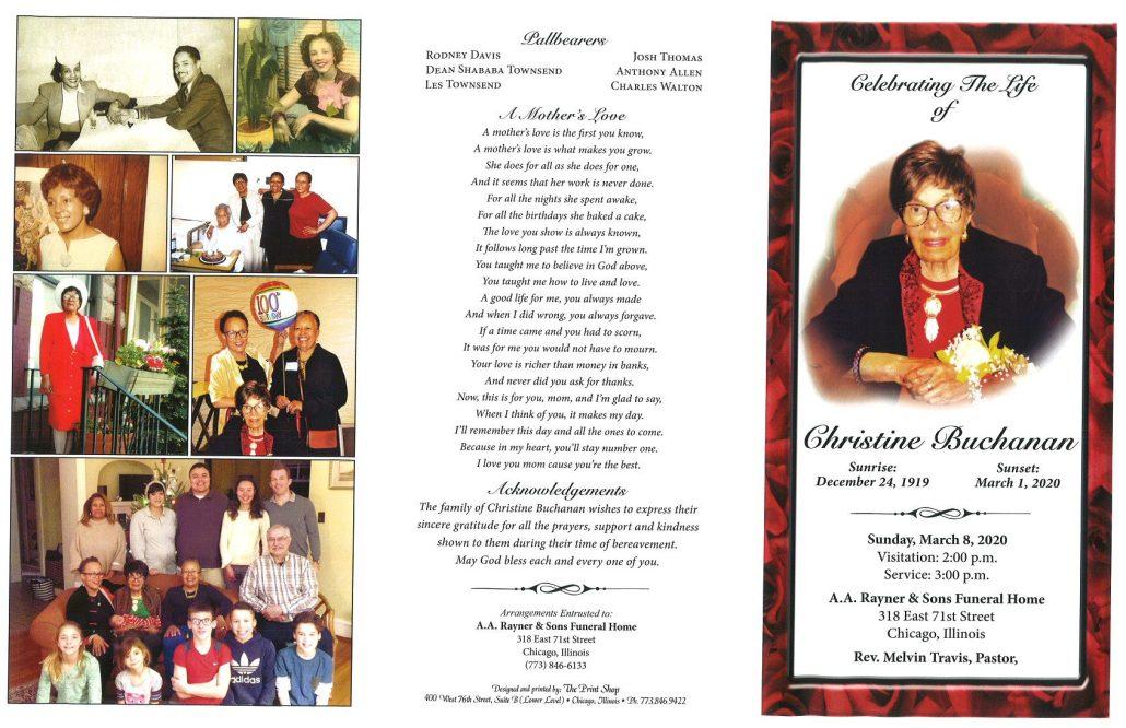 Christine Buchanan Obituary