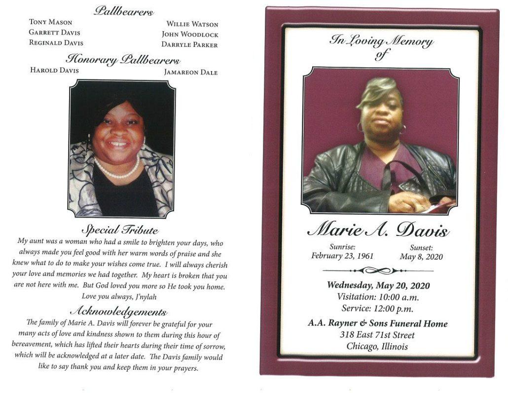 Marie A Davis Obituary