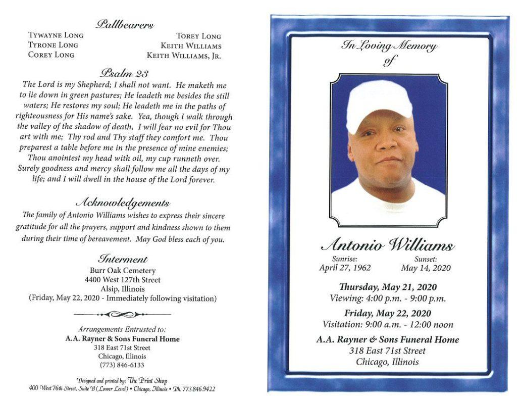 Antonio Williams Obituary