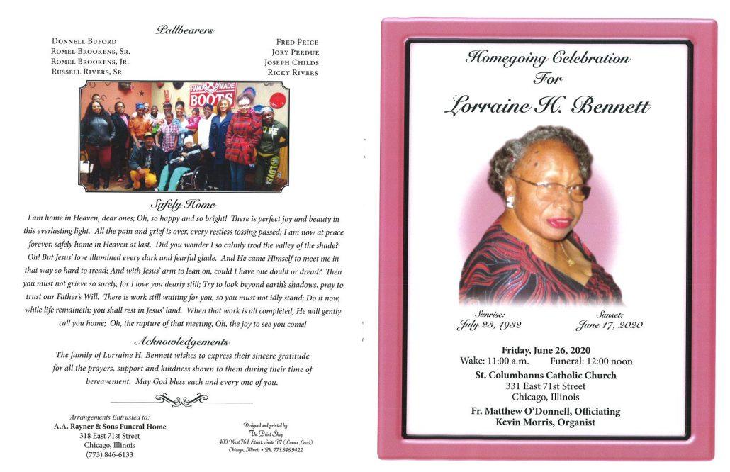 Lorraine H Bennett Obituary