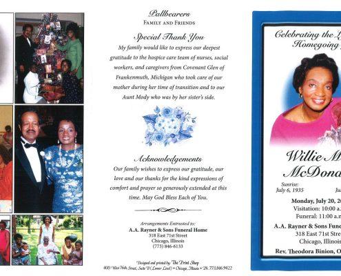 Willie Mae McDonald Obituary