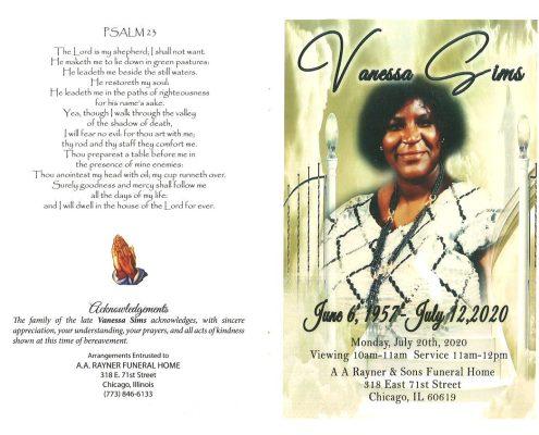 Vanessa Sims Obituary