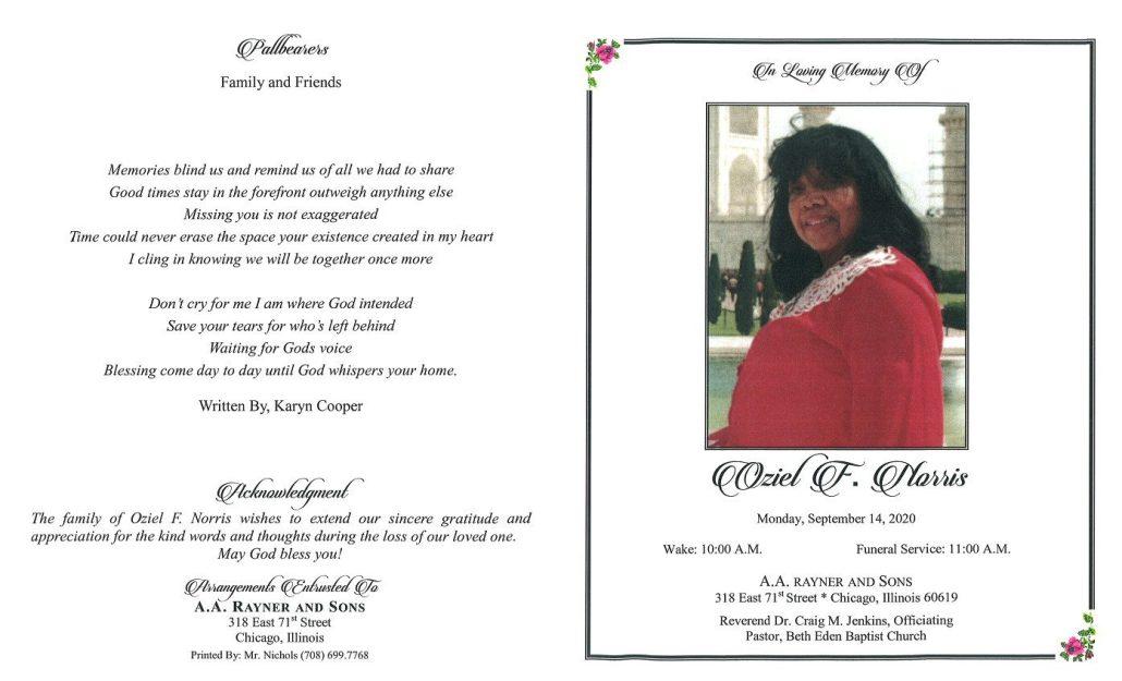 Oziel F Norris Obituary