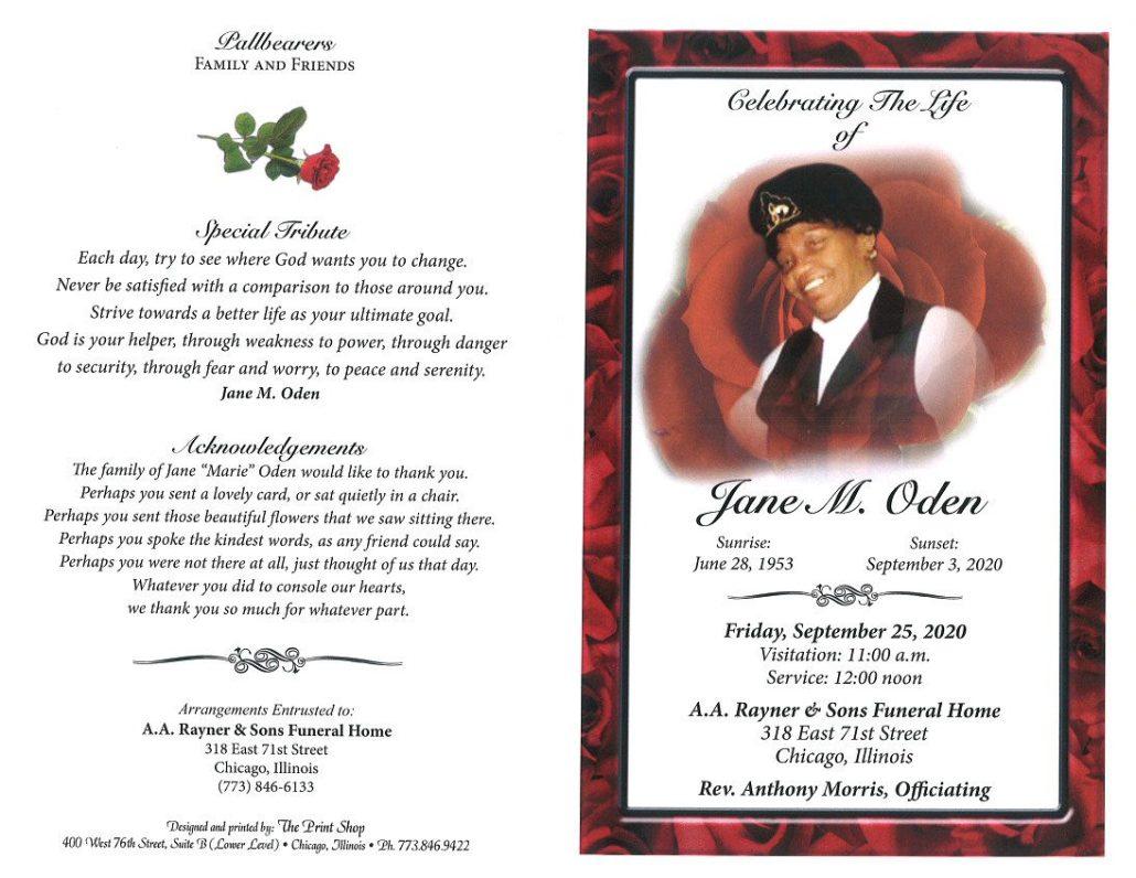 Jane M Oden Obituary
