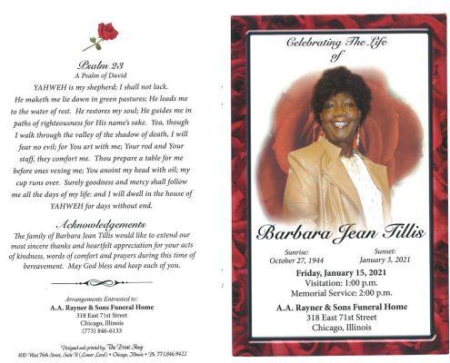 Barbara J Tillis Obituary
