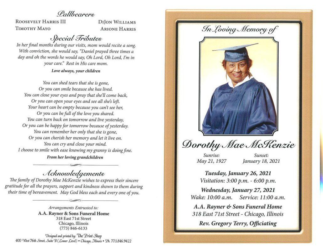 Dorothy M McKenzie Obituary