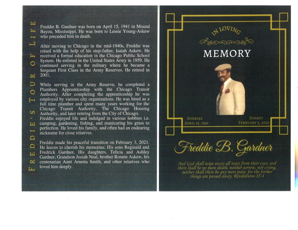 Freddie B Gardner Obituary