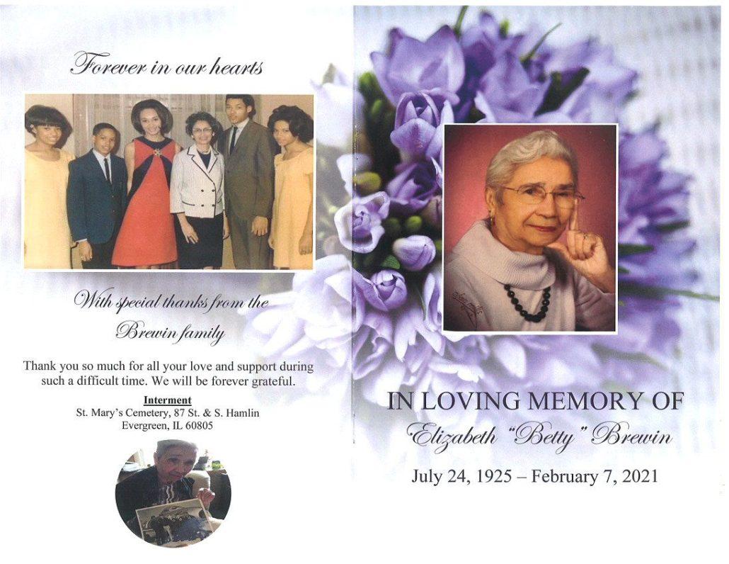 Elizabeth B Brewin Obituary