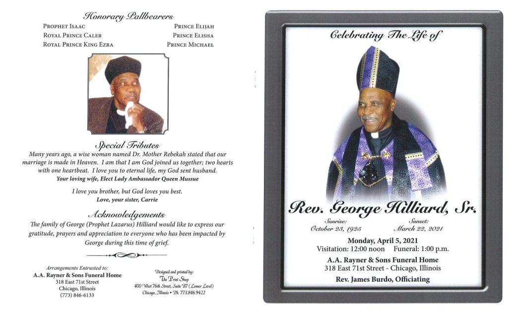 Rev George Hilliard Sr Obtiuary